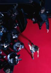 Celebrity walking past paparazzi on red carpet