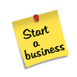 Post-it con chincheta texto Start a business