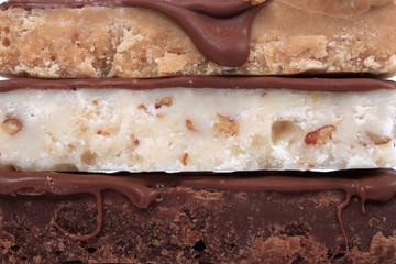 Close up of three different types of fudge