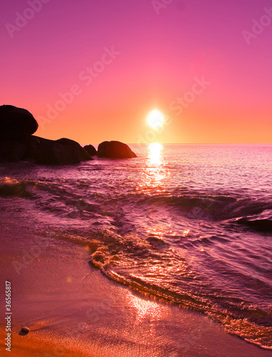 Fotobehang Roze Background Sea Landscape