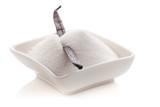 Vanilleschote in einer Schale mit Zucker