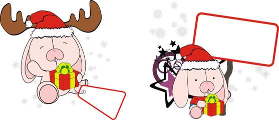 bunny baby cartoon xmas sticker