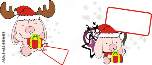 bunny baby cartoon xmas sticker