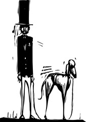 Tall Man with Dog