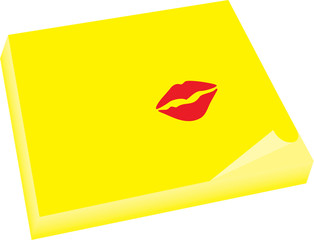 yellow note with kiss