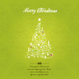 Fototapety Vector christmas tree on green textured background.