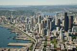 Fototapety Seattle and Space Needle - Aerial