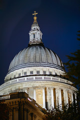 Dome of St Pauls Cathedral, London, England, UK, illuminated
