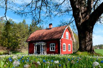 Typisches rotes Holzhaus in Schweden