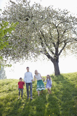 Family walking together under tree in park