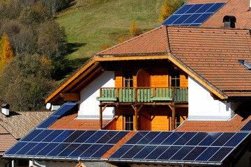 Photovoltaic modules on an Hotel, in the Alps, Italy