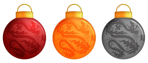 Chinese Dragon Christmas Ornaments