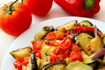 Plate of warm mixed vegetable Ratatouille