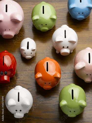 Multi-colored ceramic piggy banks