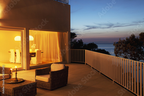 Patio of modern house at twilight