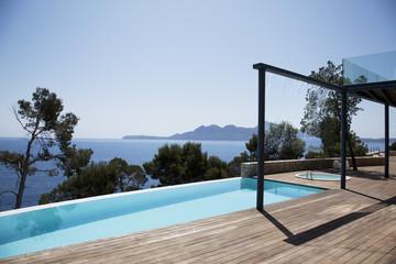 Infinity pool outside modern house