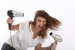 Постер, плакат: wild young woman with two hairdryer