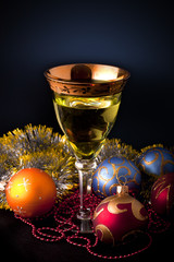Wine in glasses on christmas decorations
