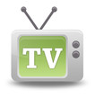 """Cartoon-style TV Icon with """"TV"""" wording on screen"""