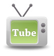 "Cartoon-style TV Icon with ""Tube"" wording on screen"