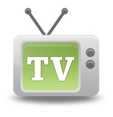 "Cartoon-style TV Icon with ""TV"" wording on screen"