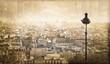 Vue sur Paris depuis Montmartre, vintage - France