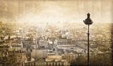 Fototapety Vue sur Paris depuis Montmartre, vintage - France
