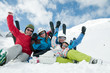 Ski, snow and fun - happy  family  on ski  vacation