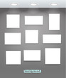 White illuminated boards on grey wall. Content template