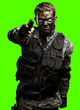 soldier aiming over removable chroma key background