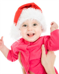Happy Christmas baby on a white background.