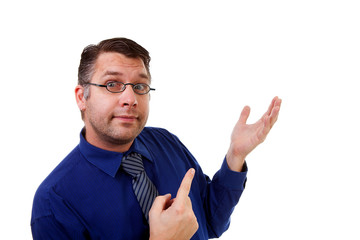 male nerdy geek is showing over white background