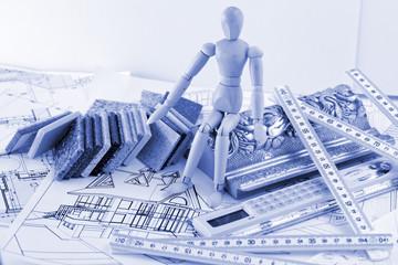 Wooden man, samples of architectural materials - plastics,  Metr