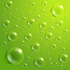 Background of drops on green