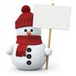 Leinwanddruck Bild - Snowman with woolen hat and signboard