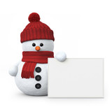 Snowman with woolen hat and board