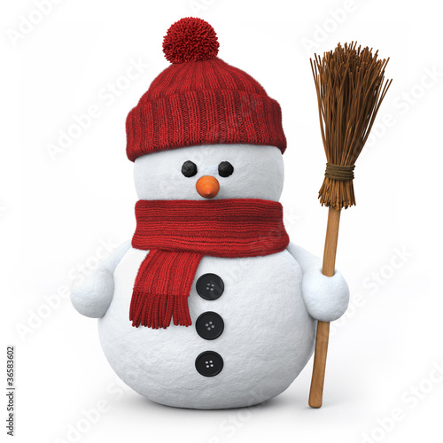 Snowman with woolen hat and broom