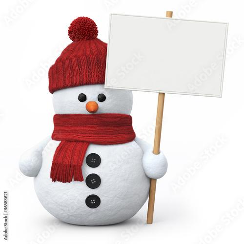 Leinwanddruck Bild Snowman with woolen hat and signboard