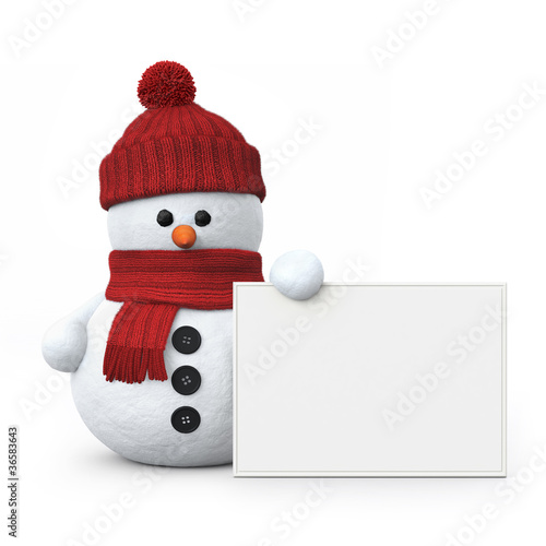 Snowman with woolen hat and board - 36583643