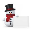 Snowman with top hat and board