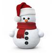 Leinwanddruck Bild - Snowman with santa hat