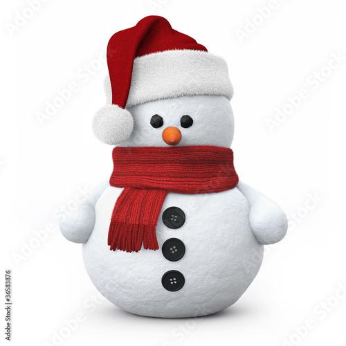 Leinwanddruck Bild Snowman with santa hat