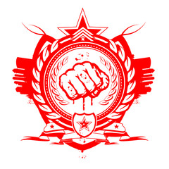 Red emblem revolution fist indignados symbol