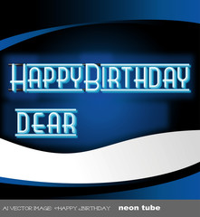 ai Vector image:  Happy Birthday neon tube