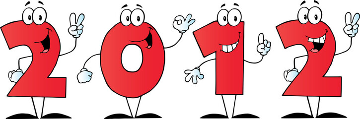 2012 New Year Red Numbers Cartoon Characters
