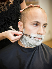 Shaving at the hair salon