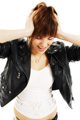 Young woman in hysterics on a white background
