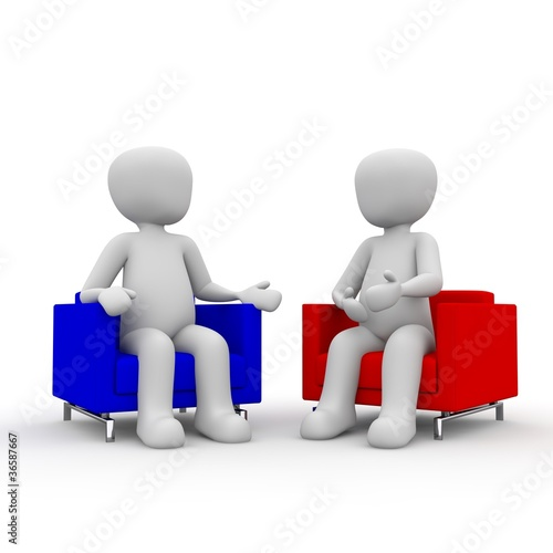 two 3d guys sitting on a couch. talking