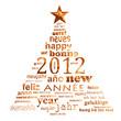 2012, sapin multilingue doré fond blanc