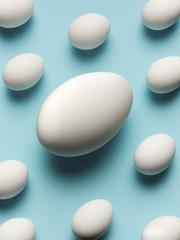 Smaller eggs surrounding large egg